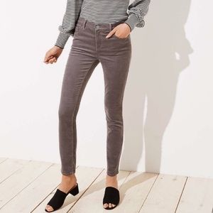 Ann Taylor LOFT Modern Skinny Corduroy Gray 26/2
